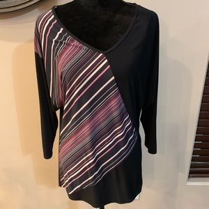 One Fashion XL blouse black, pink, purple stripes